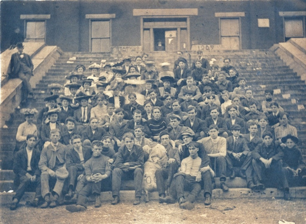 "Class rush from a different Year—1907—with the traditional ""Soph"" dummy in front of Meyers Hall."