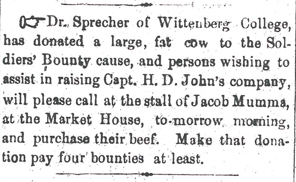 Newspaper clipping from Springfield Republic July 3, 1863