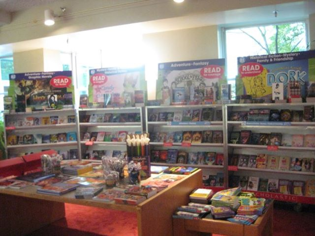 Books on display from last year's book fair.