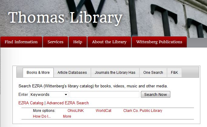 Thomas Library web page capture