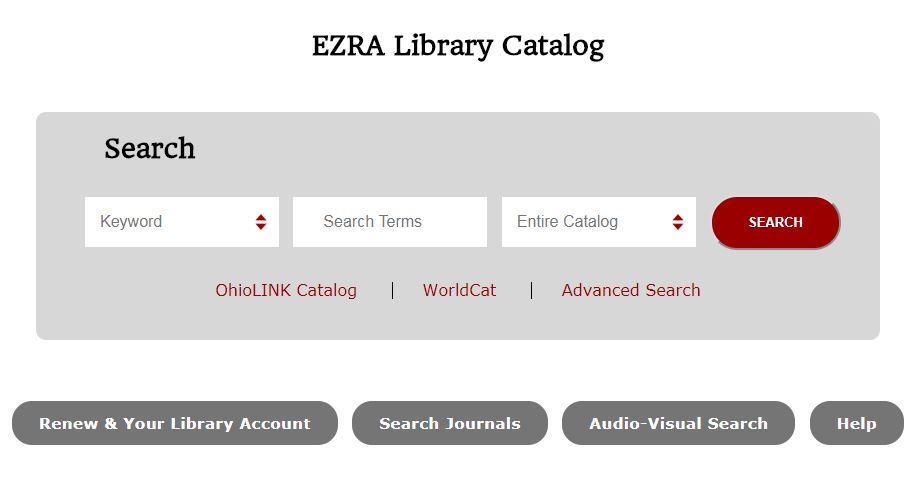 Screen shot of EZRA, Wittenberg's online catalog.
